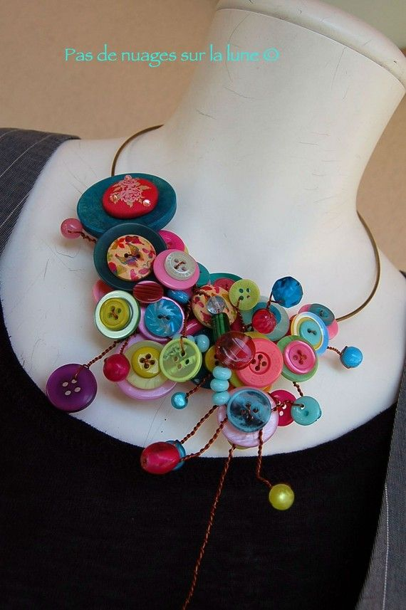 """Collier Boutons """"pink blue Canyon"""""""
