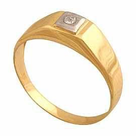Pierścionek w formie delikatnego sygnetu z cyrkonią.