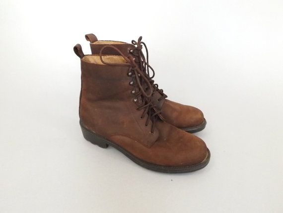 Rustic Size 7.5 Soft Brown Leather Lace Up Ankle Boots 90s Womens