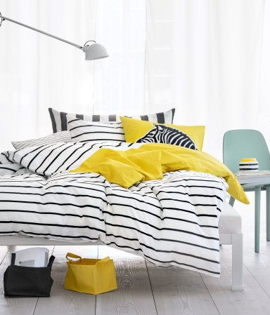yellow, black, stripesH M, Beds, Bold Bedrooms Colors Schemes, Products Details, H&M, Duvet Covers, Black White, Small Storage, Storage Baskets