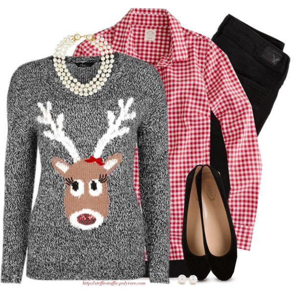 Gingham, Reindeer sweater & Pearls