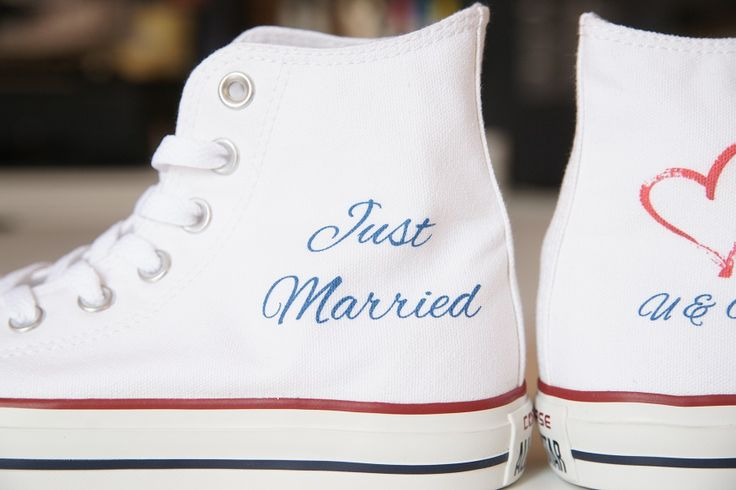 JUST MARRIED. PERFECT WEDDING. DESIGN YOUR OWN PRINT ON SNEAKERS AT WANNASHOE.COM
