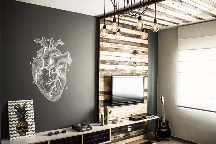 Sala com pegada industrial - um monte de referências bacanas de um projeto feito com a mão na massa de verdade!