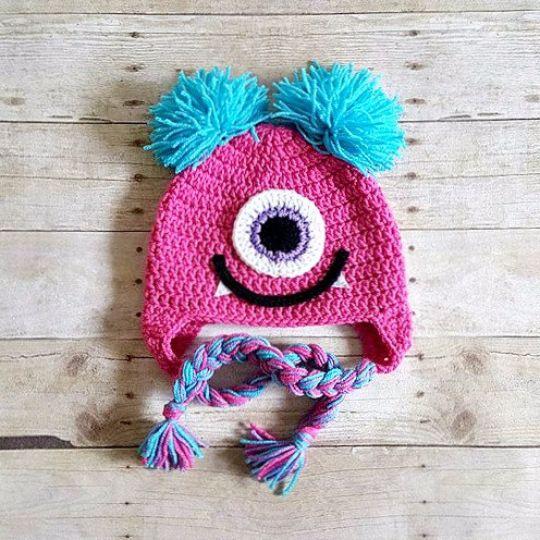 Crochet Girl Monster Hat Beanie Newborn Baby Infant Toddler Child Adult Photography Photo Prop Handmade Baby Shower Gift Present