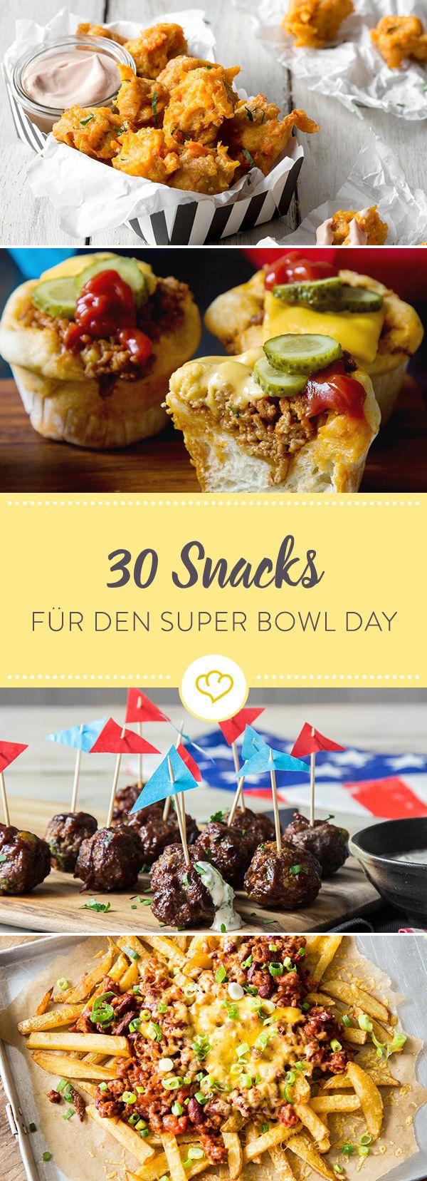 Wir haben 30 köstliche Snacks für dich zusammengestellt für das amerikanische Sportereignis des Jahres: Den Super-Bowl, das Finale der Football Profiliga.