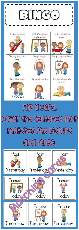 past  present and future tense verbs  regular irregular  bingo