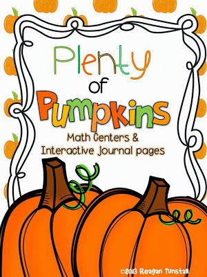 Pumpkin Themed Math Centers with interactive journal pages!