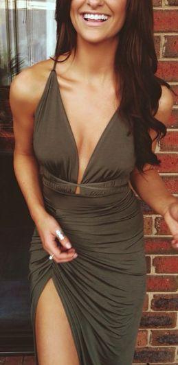 #street #style slit olive maxi dress @wachabuy