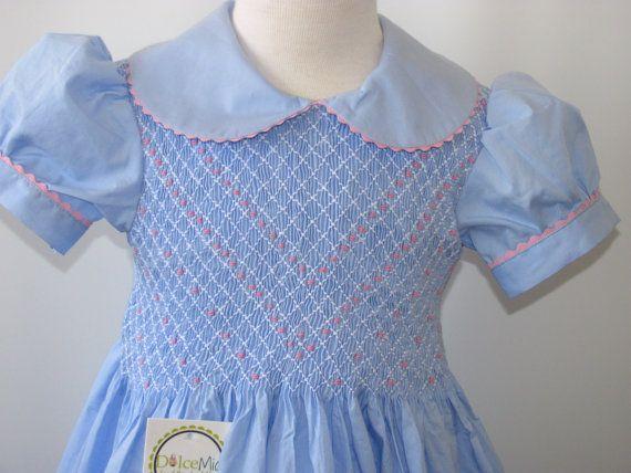 Smocked dresses, Girls Smocked dresses light blue fabric szs 2T,3T,4T,5T via Etsy