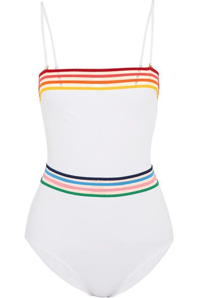 White stretch-polyamide, multicolored mesh Pulls on  72% polyamide, 28% elastane  Hand wash Lotion, sunscreen, oil and chlorine can cause discoloration of this item; this is not a manufacturing defect. Please follow care instructions to keep your swimwear in the best conditionSmall to size. See Size & Fit notes.