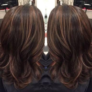 Image result for dark brown hair foils