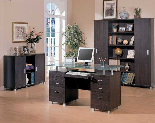 home office computer desk with glass top by coaster home furnishings plenty