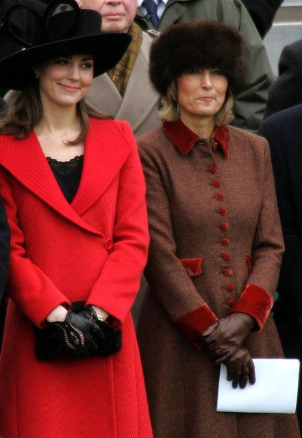 Kate and her mother, Carol at William's graduation from Sandhurst.  Carol was criticized in the press for chewing gum at the event.  It actually was nicotine gum as she was trying to quit smoking.