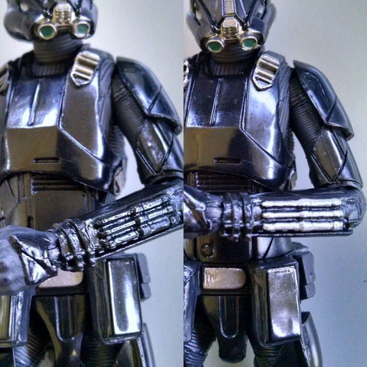 """A little quick corrective paint you can apply to your Death trooper TBS 6"""" figure. Silver Sharpie will also work.  #hasbrotoypic #hasbro #blackseriescollectors #blackseries #StarWars #sixinch #FLYGUY #FLYGUYtoys #googleplus"""