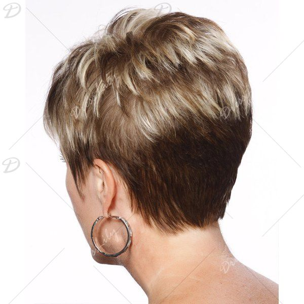 Vogue Ultrashort Side Bang Capless Straight Layered Mixed Color Women's Synthetic Wig