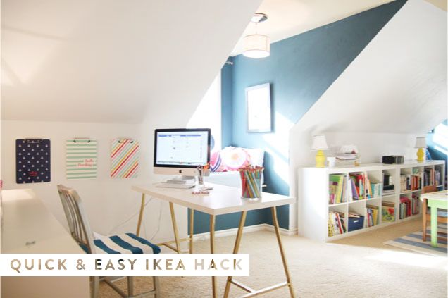 Fantastically easy Ikea #hack.: Office Spaces, Ikea Hack Liquid, Hacked Desk, Ikea Desk, Ikea Hacks, Idyllic Workspace, Ikea Hack Desk Png 636 423