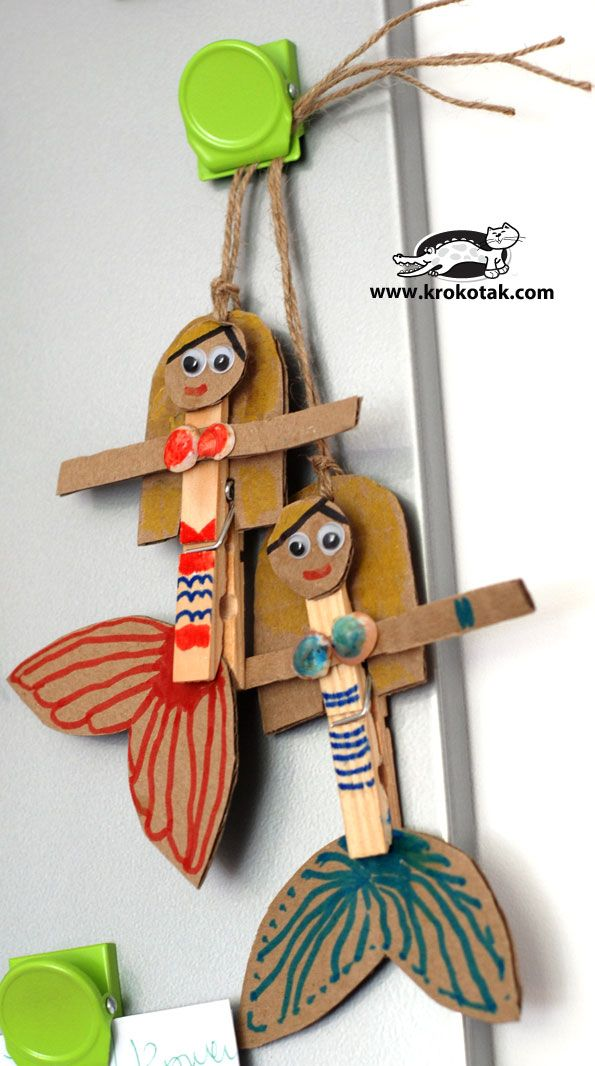 DIY: Mermaids from wooden clothespins and clams