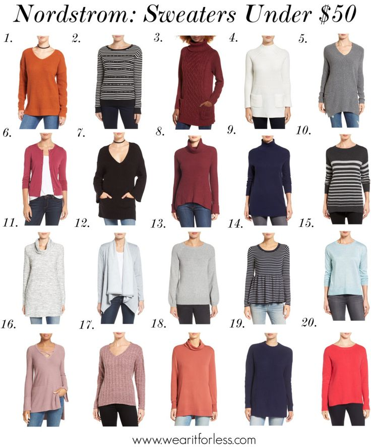 Nordstrom has a ton of sweaters on sale right now with free shipping and returns! Here are some of my picks for under $50:      1. Texture...