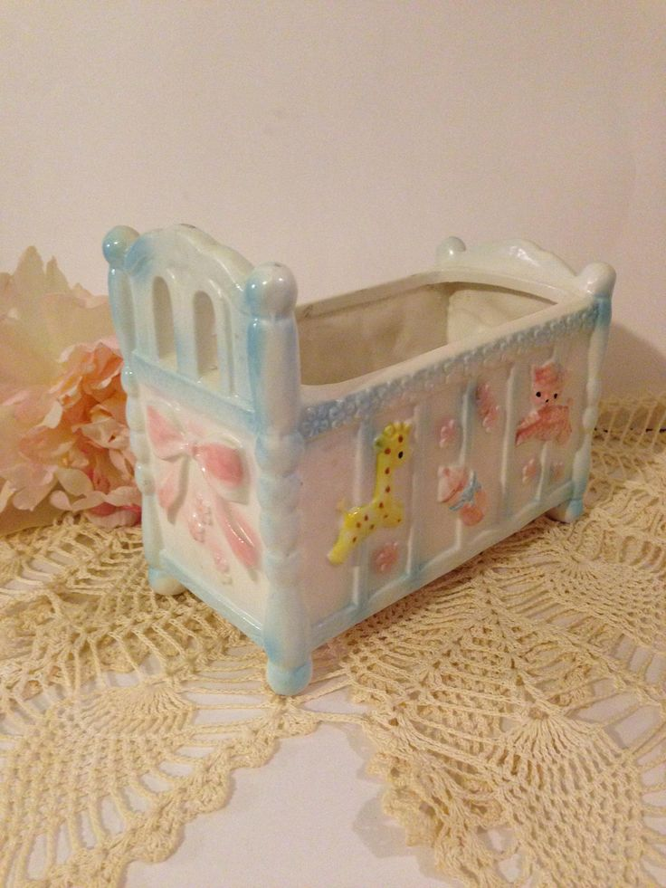 Vintage Baby Crib Planter~ Napcoware, Japan, Ceramic, Excellent Condition, Pink, Blue, Yellow, Baby Shower Decoration, Nursery Planter by ThePokeyPoodle on Etsy