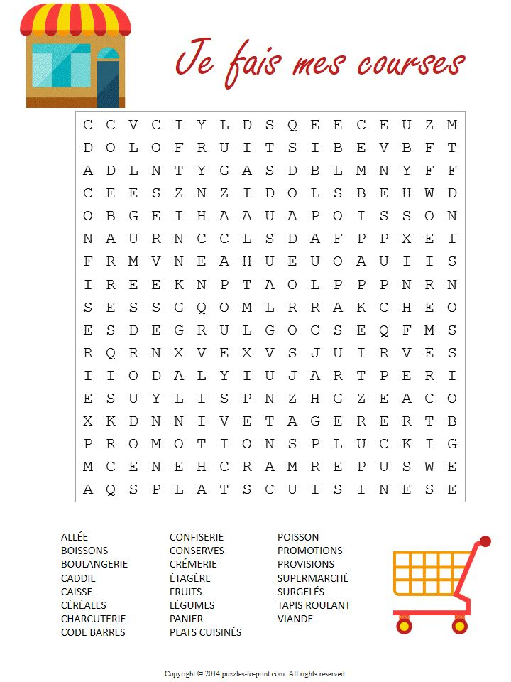 With this printable French supermarket word search puzzle, teach your ...