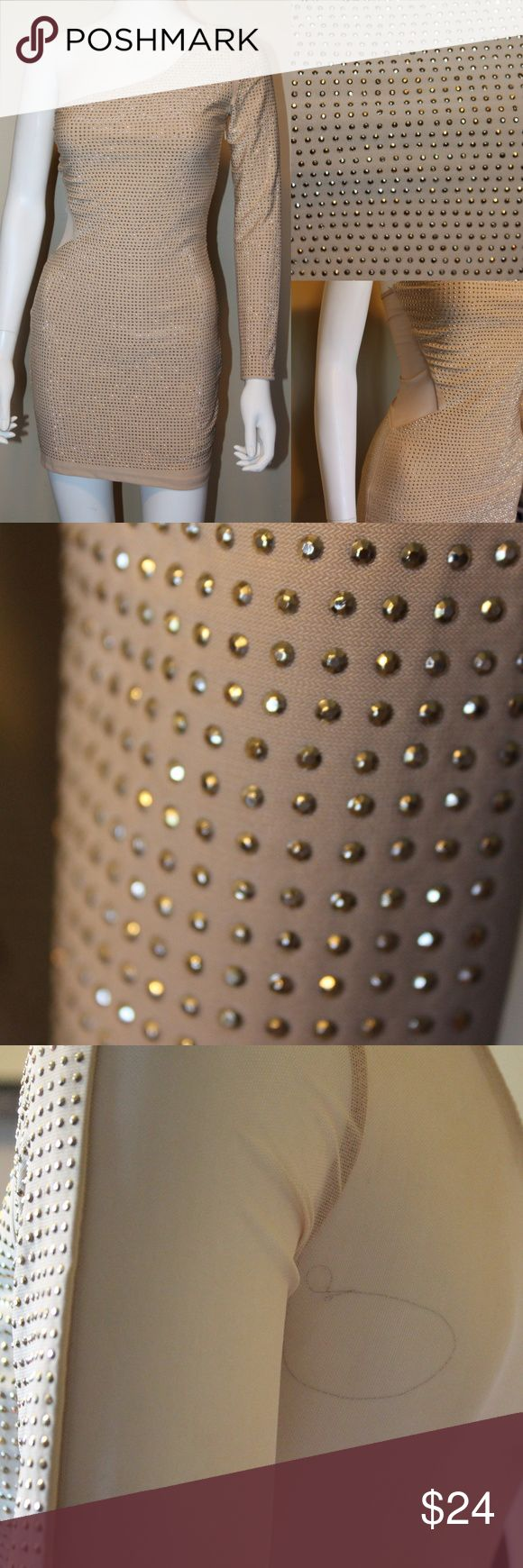 NUDE Tone One Shoulder gold studded dress Gold studded one shoulder dress all over studding back has sheer nude insertvery sxy and very flattering great dress for your bachelorette party or girls weekend in Vegas Unbranded Dresses One Shoulder