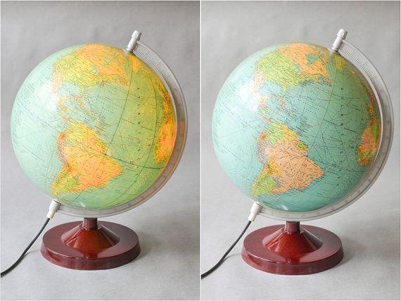 Vintage German world globe light lamp 60s West by MightyVintage