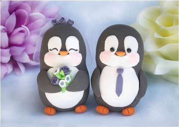 Penguin Wedding Cake Toppers - for the grooms cake :)