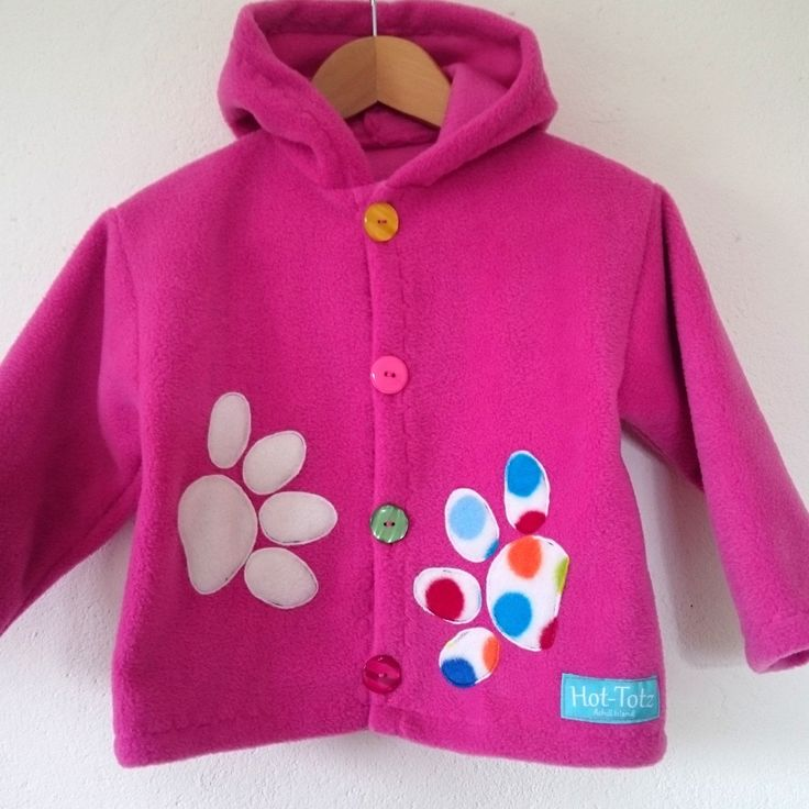 Paws on pink to brighten up your day. Cool Girls fleece jacket for big girls or small girls.
