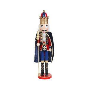 "24 Inch Nutcracker King with Cape by Zest Avenue. $29.99. Size: 5.6""L x 4.7""W x 24""H. Fully Assembled. Accents of Gold Trim,cape and Jewels. Made of Solid Wood. Large 24 in. Wooden Nutcracker Standing at attention, dressed with black cape, red velvet fabric jacket,painted blue pants and black boots, wearing a golden crown and holding a golden Staff. He is mounted on a painted, red base. Accents include gold trim, cloak, glitter and jewels."