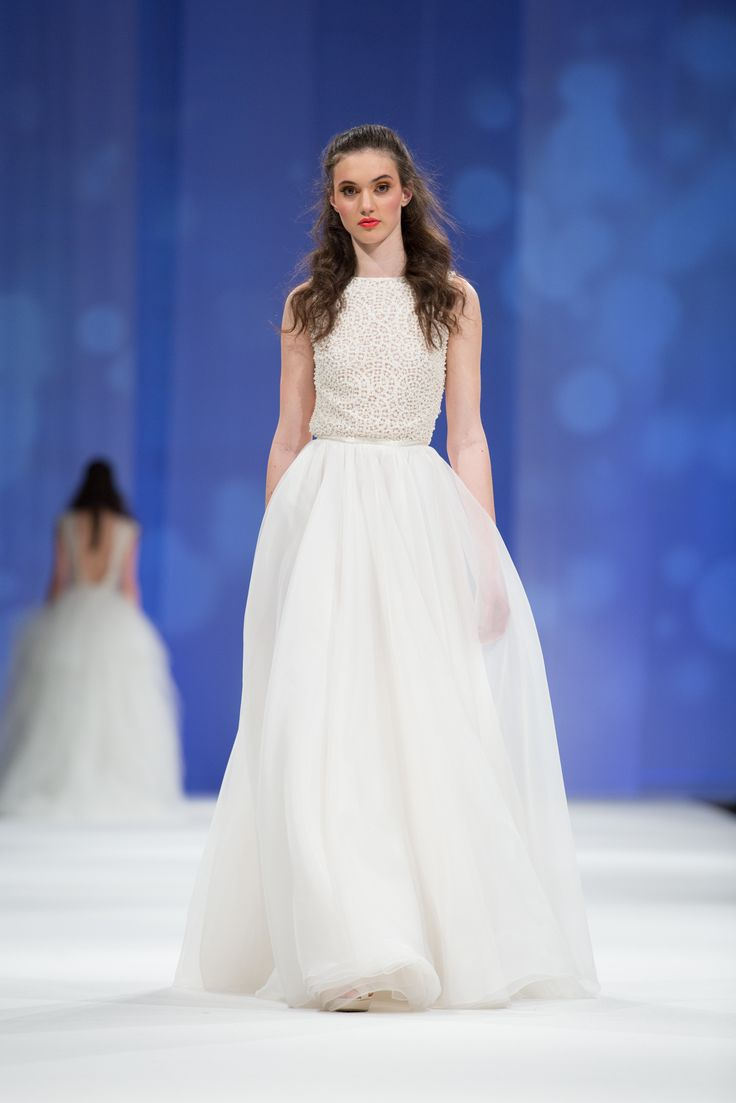 Dalarna Couture Pearl collection pearl beaded lace and organza skirt wedding gown