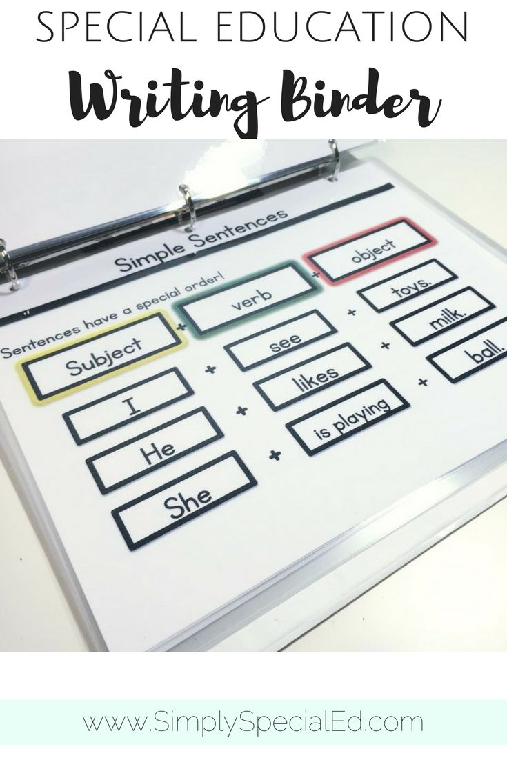 Simple writing binder for special education students! Great for practice and visual reminders
