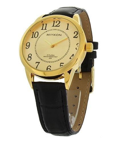 Miykon Dress Style Watch For Men Synthetic Leather Black Band And Gold Tone -WJ3 #Unspecified #Dress
