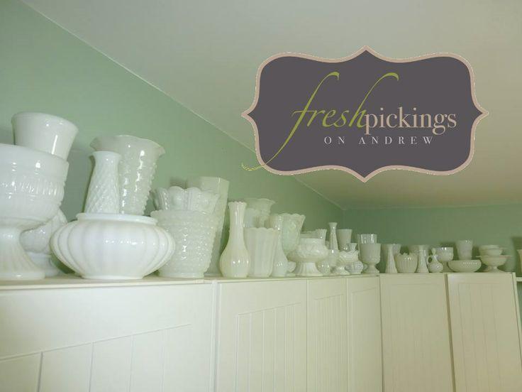 Fresh collection! Vintage milk glass sitting pretty atop Pamela K's kitchen cupboards! Milk glass addiction maybe ;)