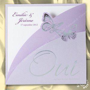Faire-part de mariage papillons violet - MA14-038