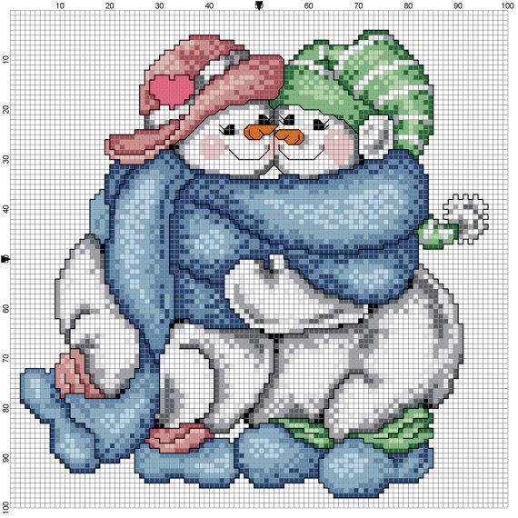 Snow Couple Counted Cross Stitch Pattern by Berwickbay on Etsy, $1.50