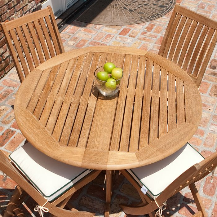 Barbuda Round Drop Leaf Dining Table, Round Teak Outdoor Table