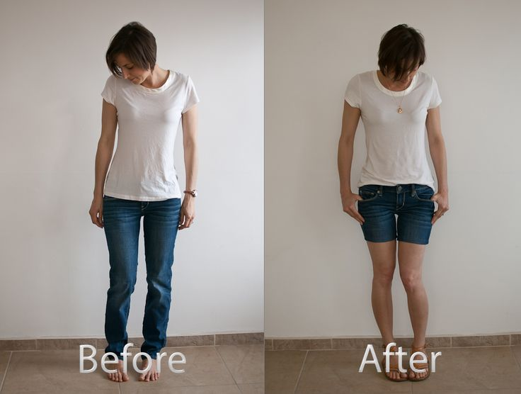 jeans to denim shorts refashion before and after
