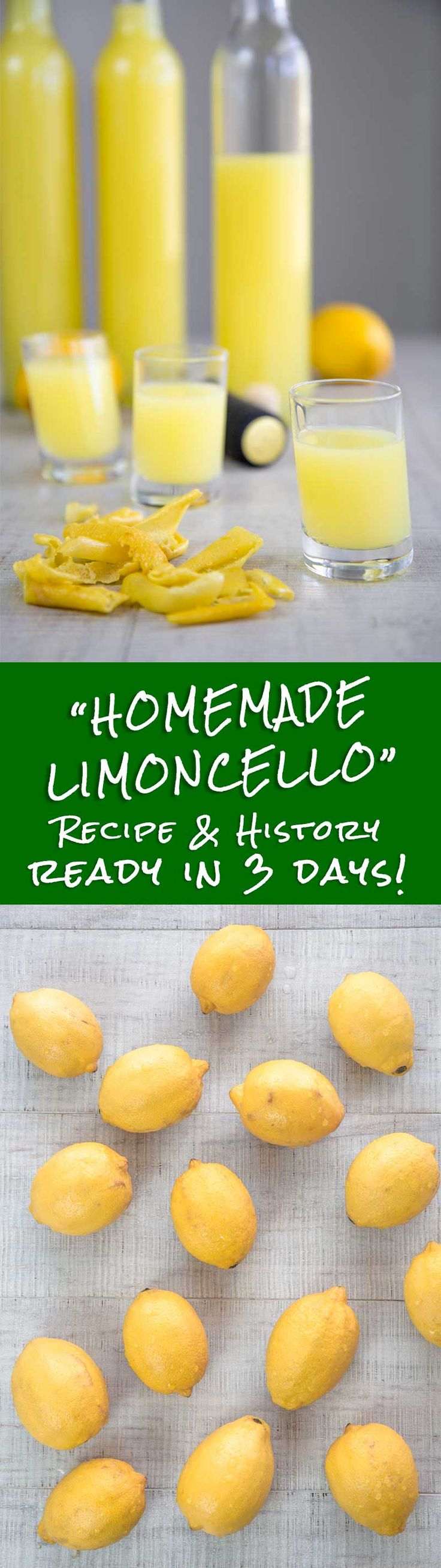 HOMEMADE LIMONCELLO ITALIAN RECIPE AND HISTORY - ready in 3 days! - Homemade Limoncello is a recipe very easy to prepare, a must for any Italian festivity! Even if, the traditional method needs a long