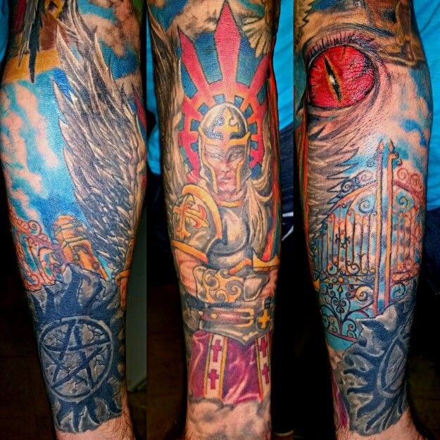 Forearm part of good and evil tattoo sleeve tattoo for Evil tattoo sleeve