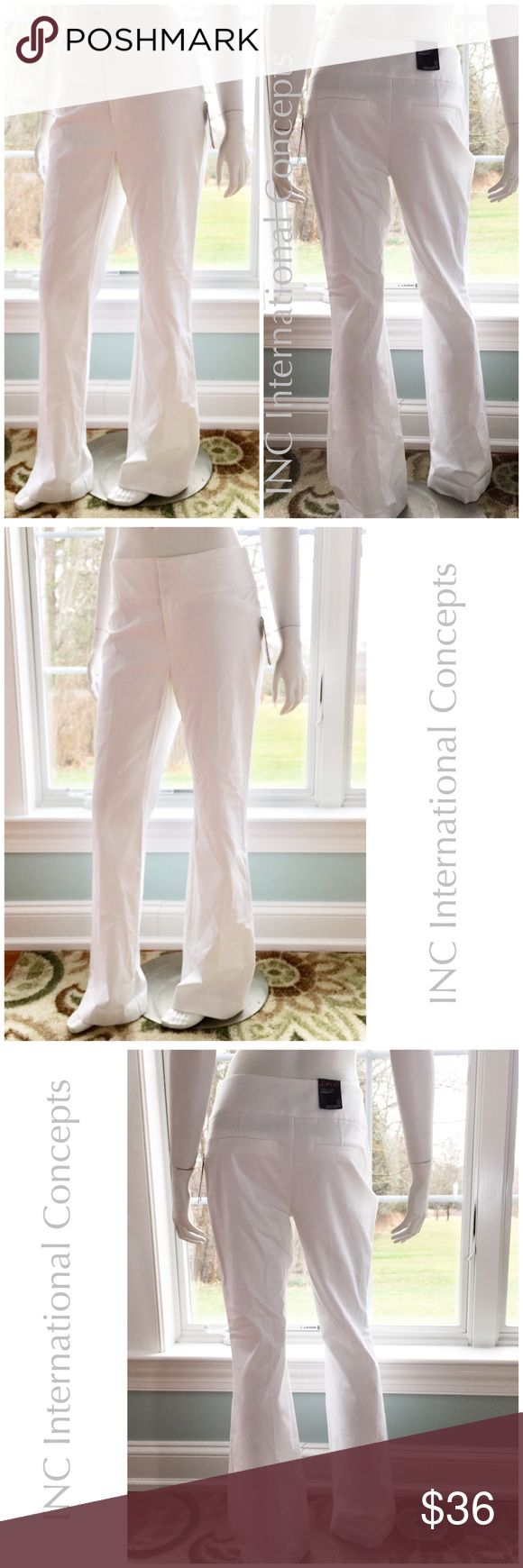 """NEW INC white stretch dress wide leg regular fit 6 57% cotton, 37% rayon, 6% spandex gives these ladies belt white stretch wide leg dress pants a nice contouring fit. Waist measures 15.5"""" across, 9.5"""" rise, 33"""" inseam, and 10.5"""" across at cuff. Retail $69.50. Please visit my closet for many new with tags opportunities for bundling and filling out your summer wardrobe! INC International Concepts Pants Wide Leg"""