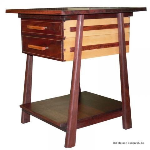 Side view showing European Beech drawer sides and Jarrah runners