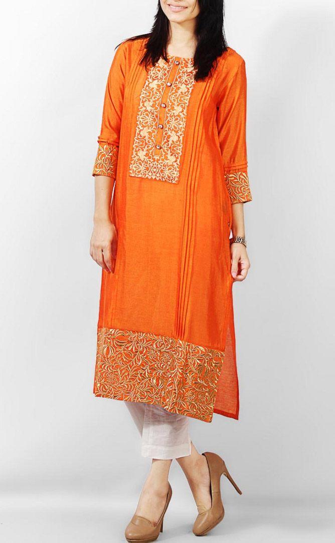 Orange Cotton Ladies Kurti by PakRobe.com