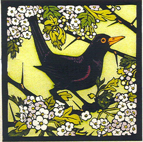 Blackbird by Kit Hiller medium : hand coloured lino cut dimensions : 54 x 55 cm