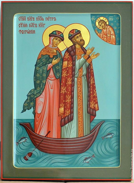 Икона святых Петр и Феврония - икона, левкас, паволока