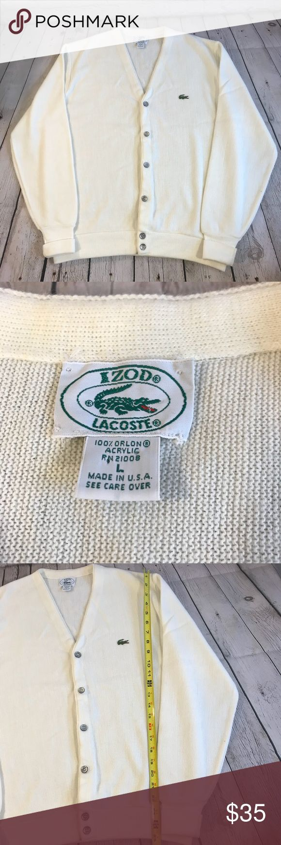 VTG Izod Lacoste Cardigan Men's Wool Sweater Large This is a vintage Izod Lacoste men's cardigan sweater size large. Color: cream Merino wool. No spots. See pics for measurements. Lacoste Sweaters Cardigan