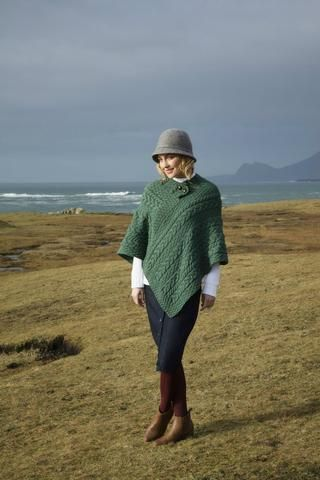 Aran Poncho with button detail