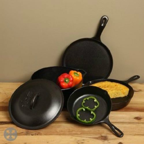 LODGE-CAST-IRON-COOKWARE-SET-KITCHEN-DINING-HUNTING-FISHING-CAMPING-OUTDOORS