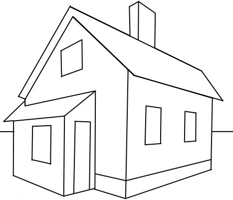 How to draw a house in 2 point perspective with easy step for House drawing easy