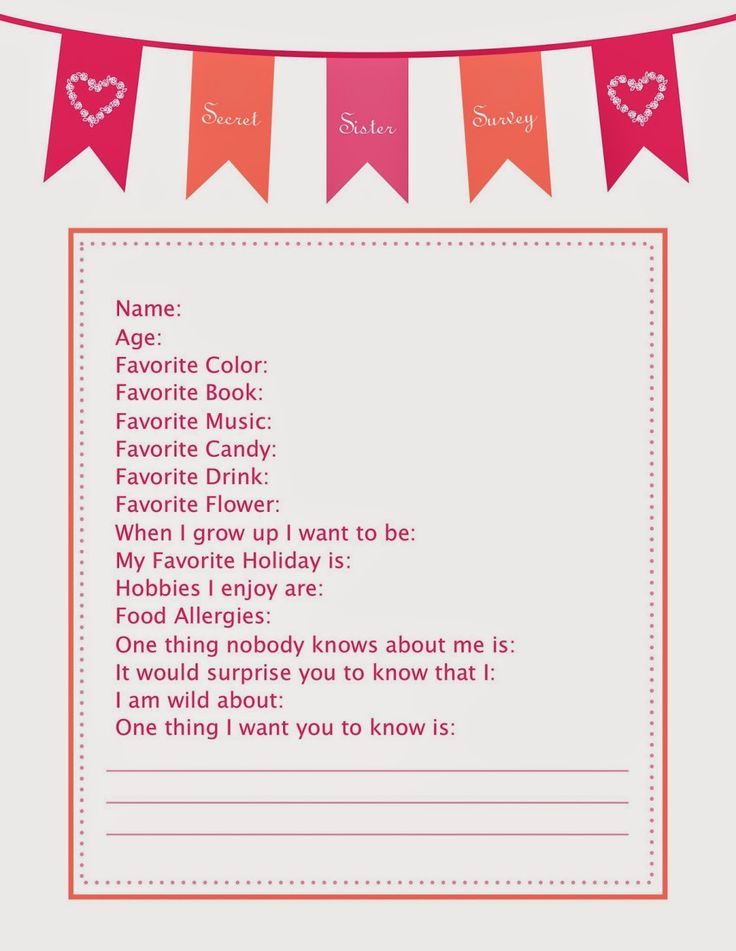 BumbleDo: Free Printable Secret Sister Survey | Secret ...