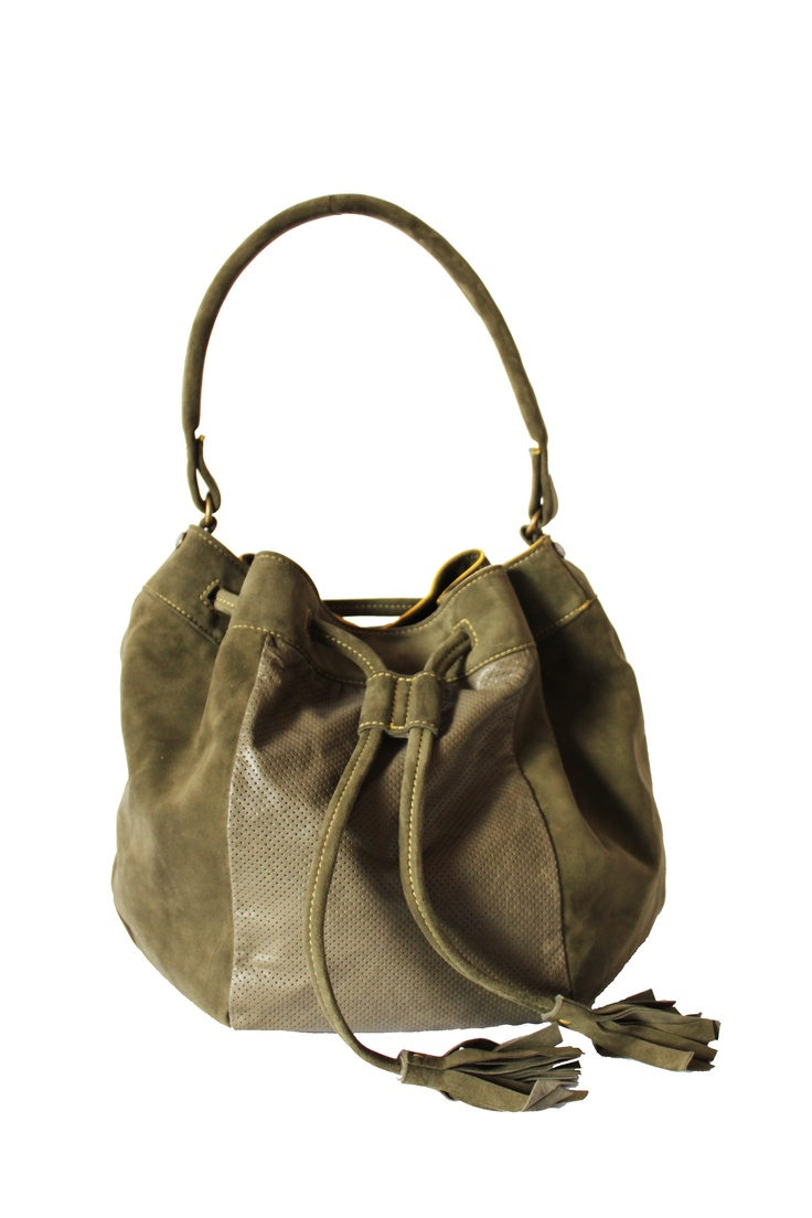 Italian leather olive green bag. By Paulina Botero